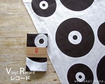 Japanese Hand Dyed Tenugui, Vinyl Record, akaihana Original