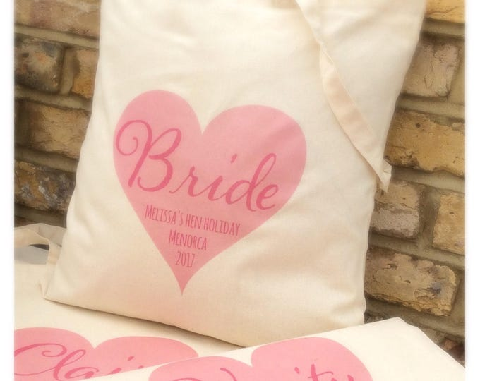 Personalised heart tote bag or drawstring bags come in any colour | Cotton tote bag | Children's bags | Wedding tote bags | Hen do bags.