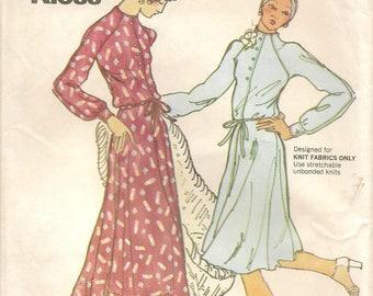 70s Vintage Butterick Sewing Pattern 3398 Flared Funnel Neckline Dress John Kloss Size 12 Bust 34