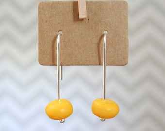 Resin Jewellery | Sterling Silver & Resin Earrings | Yellow