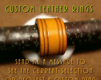 Leather Ring jewelry custom designed leather jewelry beaded leather rings leather accessories viking rings larp jewelry lotr