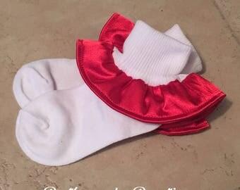 Red Silk ruffle socks, christmas socks