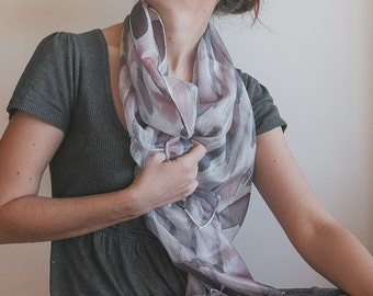 Hand painted Silk Scarf in neutral colors  that looks like a watercolor painting