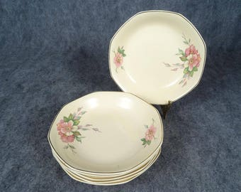 Homer Laughlin Vintage Octagonal Soup Bowls x6 Wild Rose Yellowstone
