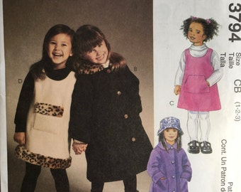 McCalls 3794 Girls Coats Jumpers Hat Sewing Pattern Size  1,2,3 OOP Uncut 2002