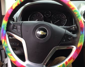 Tie Dye Rainbow Fleece Stern Wheel Car Cover