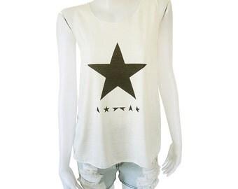 David Bowie Blackstar Black Star Music Festival Printed Lady Women's Singlet Tank Top Vest Blouse Shirt Tee T-Shirt White S M L