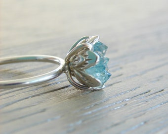 Raw Crystal Ring, Aqua Aura & Herkimer Diamond Ring, Rough Crystal Jewelry for Her, Engagement Ring, Wife's Anniversary or Girlfriend Gift