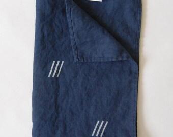 Linen Tea Towel Blue with White Dash Print