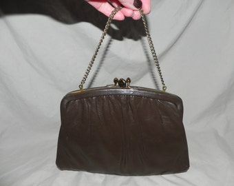 1960's or 1970's Brown Leather Two Compartment Clutch Purse Handbag by Ande'
