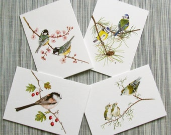 Birds Greetings Cards, British Song Birds x 4, Goldcrest, Blue Tits, Coal Tits , Long-Tailed Tit