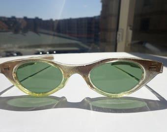 Cat's Eye Sunglasses Green Glass Lenses France Vintage 1960s