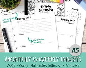 A5 - 2017 Week on Two Pages, Month On Two Pages, Weekly Planner, Wo2P, Mo2P, Half Letter, Letter, A4 - Printable Planner Insert, PDF