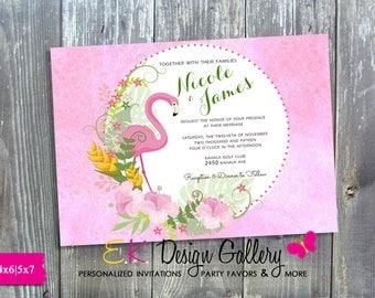 Flamingo Wedding Invitation Tropical Wedding Invite Digital Printable DIY