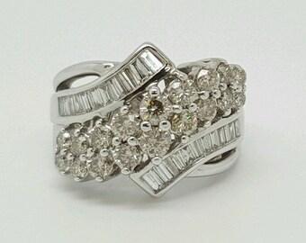 2.68 Ct genuine diamond 10k white gold wide wedding anniversary cluster ring