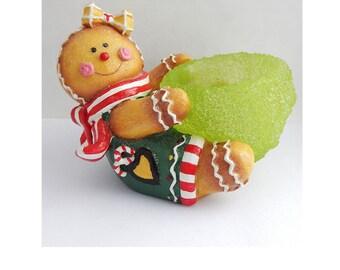 Gingerbread Tea Light Candle Holder Vintage Christmas