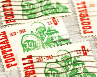 9 x Vintage Football Stamps Postage 1969 Intercollegiate Ball Sports Altered Paper Scrapbooking Junk Journal Paper