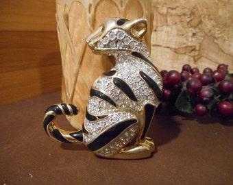 Large  Big Cat Tiger Brass Gold Diamante Rhinestone Brooch Pin Vintage Estate  92.7 grams