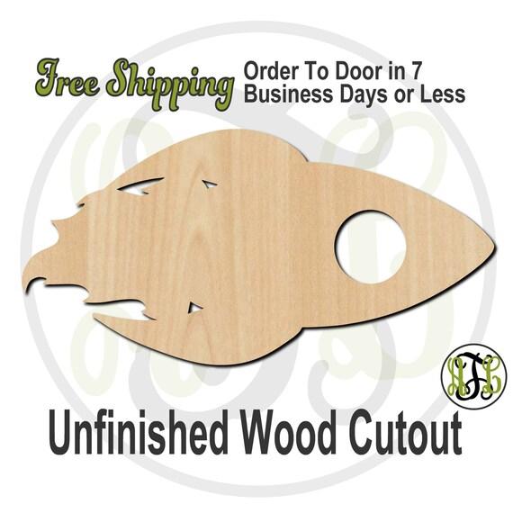 Rocket Ship - 10028- Cutout, unfinished, wood cutout, wood craft, laser cut shape, wood cut out, Door Hanger, Blast Off, wooden