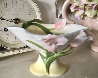 Reserved...Vintage Graff (Franz) Porcelain Pedestal Bon Bon dish, Pink Tulips