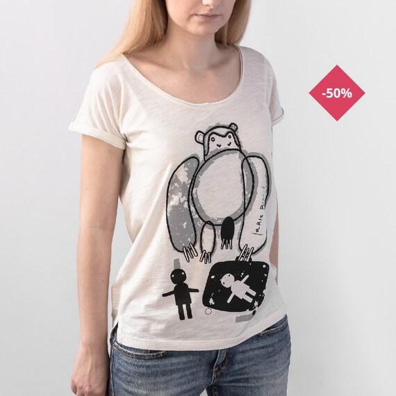 Woman Graphic Tee Oversize Vintage White Organic Cotton Slub - Printed...