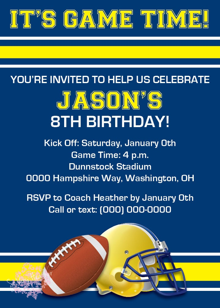 It\'s Game Time Football Birthday Party Invitation - Digital File ...