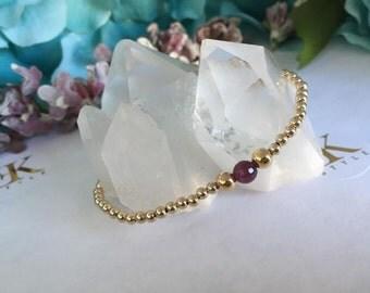 Red Ruby Gold Filled Bracelet, Stretch Bracelet, Stack Bracelet