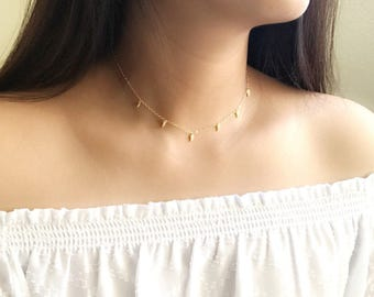 Dangle choker necklace / dangling charm choker / tusk charm  choker / choker necklace / shaker necklace