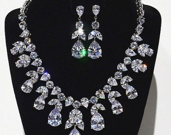 New Bridal Stunning CZ Chunky Crystal Tear Drop  &  Earring  Necklace Set