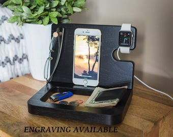 Mens Docking Station, Gift Ideas for Men, Mens gift, Gifts for Him, Gifts for Dad, Iphone docking station, Wooden valet, Personalized gifts