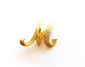 Vintage Mamselle Gold Letter M or W Pin Brooch