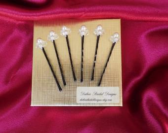 Bridal pearls and crystals hair pins, Swarovski pearls and crystals hair pins, bridal hairpiece, bridal pearls bobby pins, 6 hair pins