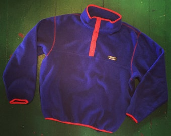 Vintage Blue and Red LL Bean Fleece Pullover