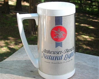 ZERO SHIPPING! Vintage Anheuser-Busch Natural Light Beer Thermo-Serv Insulated Tall Mug with Handle - Advertising Piece - Made in the USA