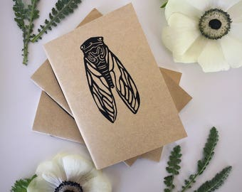 Cicada Pocket Journal - Hand Printed Linocut - Blank Notebook