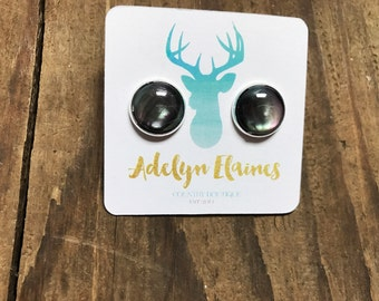 Black Space Studs Setting 12 mm in Silver Setting