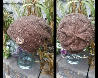 Ladies Knit slouchy hat, slouch hat, slouchy beanie, knit hat, handmade, ladies knit hat, ladies hat, winter hat, winter accessorie, beanie