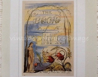William Blake Book of Thel Title Page Illustrated Poem Art Print Vintage Lithograph Book Plate Home Decor British Illuminated Poetry