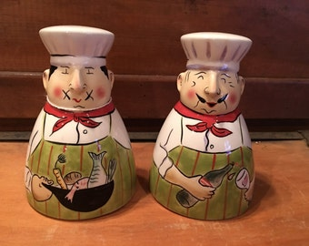 Clay Art Chefs Salt and Pepper Shakers