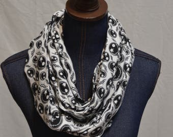 Nightmare Before Christmas / Jack Skellington Face Jersey knit Infinity scarf
