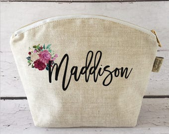 Personalized Cosmetic Bag - Bridesmaid Gift - Large Cosmetic Bag - Make up Bag - Gift for Her - Accessory Bag - Custom MakeUp Bag - Custom