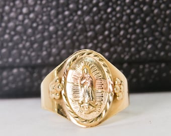 Women's or Men's Absolutely Lovely 14k Tricolor Our Lady of Guadalupe ring, made in Mexico, wide, size 8.5, SEE VIDEO!