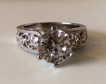 Sterling Silver -Filigree ring with cubic zirconia stone