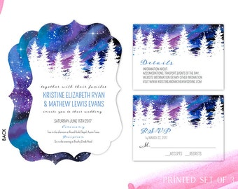 Galaxy Invitations Winter Wedding Snow Snowflakes Elegant Wedding Invitation Together Forever Always