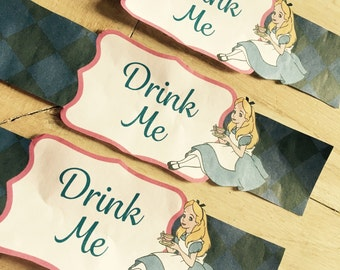 Wonderland/Mad Hatter Tea Party Bottle Labels