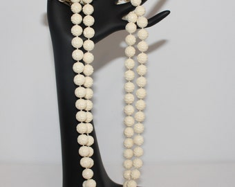 Vintage Carved Plastic Beaded Ivory Necklace Made in Hong Kong