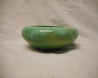 "Roseville Robinson Ransbottom RRP CO 6 Inch Shallow Drip Bowl Planter ""Green"""