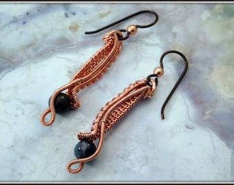 Bloodstone Earrings, Wire Wrapped Earrings, Copper Dangly Earrings, Stone Earrings, Copper Jewelry, Jewelry Handmade, hypo-allergenic