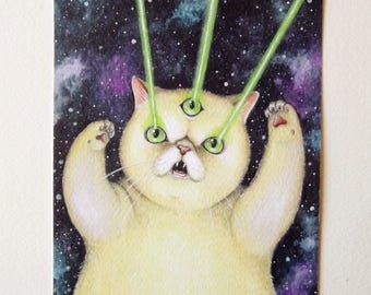Laser cat limited edition print - digital print numbered in 50 copies - laser cat in deep space