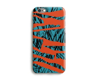 Tiger print graffiti print case iPhone 6s 5s, 5c, 6 Plus, 4s case, Samsung Galaxy iPad - Orange and Blue Tough protection case
